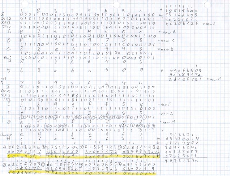 Последний раунд SHA-256, в результате которого виден успешно смайненный биткойн-блок